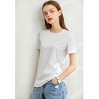 Amii黑科技COOLTech�H�H薄荷小冰T恤2020夏季新款�C花短袖上衣女