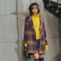 秋冬新款韩版复古格子宽松加厚中长款毛呢大衣学生风衣外套女 图片色