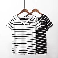 大码女装胖MM2017夏装新款 V领超赞气质显瘦海军风条纹棉短袖T恤