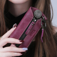 男女士钥匙包 拉链多功能简约零钱包牛皮汽车钥匙扣