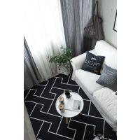 欧式潮牌简约黑白客厅茶几地毯卧室床边地垫现代长方形沙发进门垫 乳白色 简约线条Z