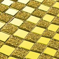 欧式水晶玻璃马赛克瓷砖电视背景墙墙贴金色镜面卫生间游泳池自粘 30x30