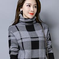2018冬新款套头毛衣女格子民族风针织衫堆堆领大码打底衫
