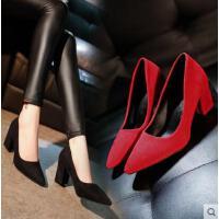 网红同款新款绒面红色高跟鞋黑色百搭粗跟尖头女单鞋婚鞋新娘鞋