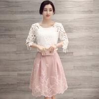 韩版吊带圆领雪纺镂空+蕾丝刺绣半身裙三件套 上白下粉
