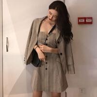 韩国复古风秋装新款格子吊带收腰显瘦连衣裙+翻领长袖小西装外套