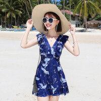 游泳衣女保守显瘦遮肚性感韩国连体裙式温泉 新款大码胖mm泳装