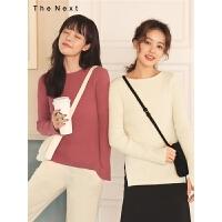 纯色打底针织衫2019冬季新款女长袖套头薄款韩版修身洋气百搭上衣