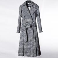 呢子大衣女2017新款大码女装风衣韩版中长款格子秋冬加厚毛呢外套 格子