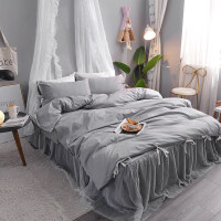 家�床上四件套全棉�棉裙式公主�L1.8m米床�p人床�伪徽旨�色床裙款