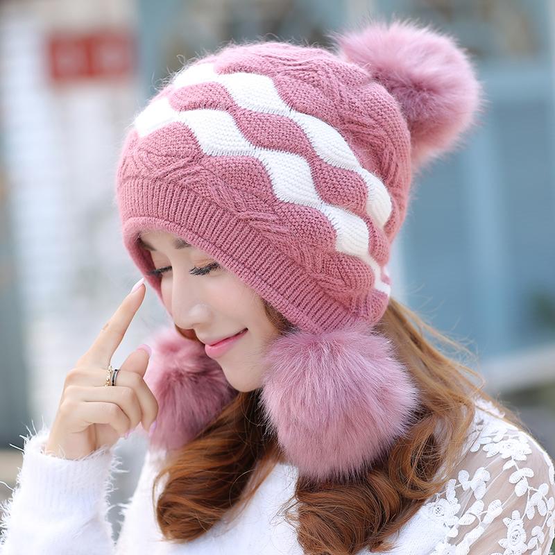 贝雷帽子女秋冬天韩版双层加厚针织毛线帽可爱冬季护耳保暖兔毛帽 兔毛含量高 双层针织 护耳保暖 修脸显瘦