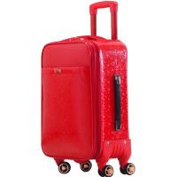 皮箱拉杆箱女旅行箱万向轮行李箱红色结婚箱子陪嫁箱新娘嫁妆箱子