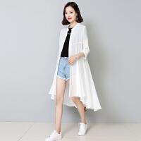 中长款防晒衣雪纺开衫女外搭2018春夏季新款宽松时尚显瘦薄款外套