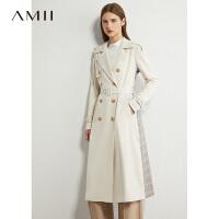 Amii极简英伦气质收腰长款风衣2021春新款格纹拼接宽松过膝外套女