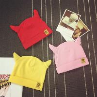 婴儿帽子春秋0-3-6-个月宝宝套头帽针织帽男女新生儿护耳保暖帽