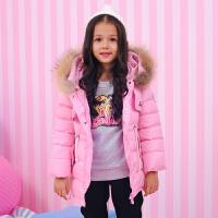 芭比童装女童宝宝儿童羽绒服中长款中大童2017新款加厚外套