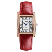 防水石英女士手表时尚潮流水钻简约皮带腕表时装商务表女表