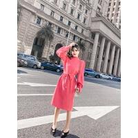 秋冬季裙子女2018新款时尚气质韩版修身显瘦长袖针织收腰连衣裙 均码