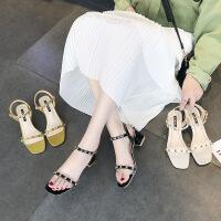 高跟凉鞋女夏时尚新款复古风时尚一字带粗跟ins潮超火网红高跟鞋