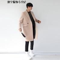 男士韩版羊绒西装领风衣中长款毛呢大衣双排扣呢子外 米白色加棉 S