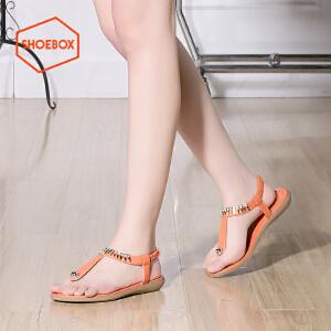 达芙妮集团 鞋柜夏季新款休闲夹趾凉鞋女时尚水钻简约纯色平底鞋