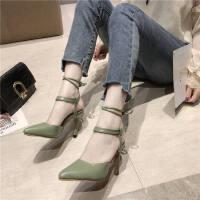 夏优雅高跟细跟外穿性感罗马风脚腕绑带尖头时装鞋包头凉鞋女
