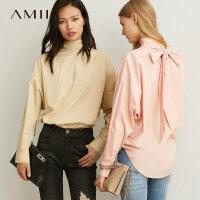 【到手价:124元】Amii极简ins心机少女衬衫2019秋季新宽松高领全棉绑带落肩袖上衣