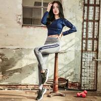 春秋瑜伽服套装女专业运动长袖上衣显瘦t恤运动跑步健身长裤