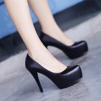 春夏真皮女鞋裸色单根高跟鞋防水台细跟夜店单鞋黑色女士皮鞋10cm