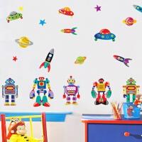 儿童卧室男孩房间装饰卡通贴画可移除墙贴纸机器人墙贴