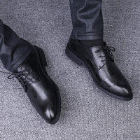 皮鞋男韩版尖头青年百搭冬季加绒潮流休闲鞋英伦商务内增高小男鞋 黑色 普通款收藏送袜子