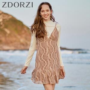zdorzi卓多姿2018秋装新款长袖T恤蕾丝吊带连衣裙两件套女636E127