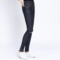 牛仔裤棉弹牛仔布长袖优雅韩版中腰2017年秋季长裤铅笔裤 图片色 M