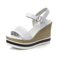 年新款坡跟真皮凉靴防水台松糕厚底平底高跟真皮增高女鞋