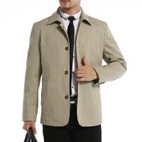 新款中年人男士外套夹克衫扣子装中年男装修身春秋季休闲爸爸装 卡其色 115# 170 M 100-125斤