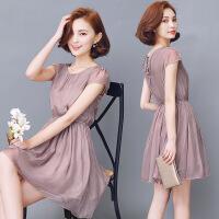修身优雅韩版真丝连衣裙纯色桑蚕丝裙子甜美圆领年夏季短袖中裙