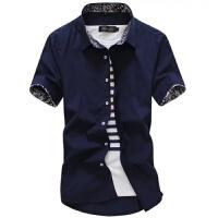 2018夏季短袖白衬衫男士修身碎花休闲工装衬衣男装寸衫