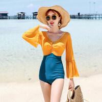 泳衣女保守新款时尚显瘦遮肚性感连体比基尼小胸聚拢韩国泳装