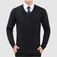 秋冬季中年男V领羊毛衫针织衫线衫中老年爸爸装父针织套头毛衣