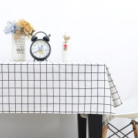 桌布布艺棉麻小清新文艺格子北欧简约现代长方形茶几餐桌布艺盖布T 方格子 白色