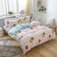 床上四件套全棉纯棉被套少女公主风1.5m简约1.8m米床笠款四件套