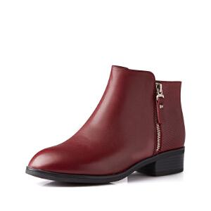 富贵鸟女鞋 秋冬季新款短靴女英伦风粗跟女靴子单靴马丁靴