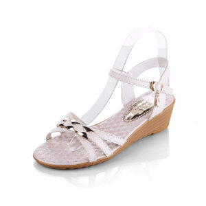 ELEISE美国艾蕾莎新品060-983韩版超纤皮坡跟女士凉鞋