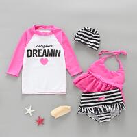 儿童泳衣女孩套装宝宝可爱公主裙游泳衣女童长袖度假