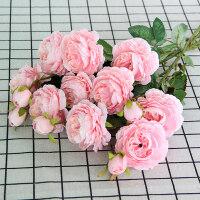假花仿真牡丹花玫瑰花套装婚庆家居客厅落地装饰干花假花绢花插花摆件