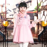 童装冬装女童中国风旗袍连衣裙大儿童加厚新年唐装女孩长袖公主裙