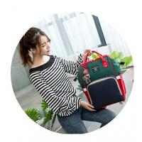 妈咪包双肩包韩版多功能妈咪袋大容量母婴包时尚宝妈外出旅游背包 军绿色 绿蓝红 三色