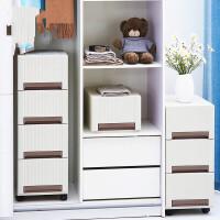 家居抽屉式收纳柜加宽衣物整理柜塑料可叠加多层大容量储物柜 米白色 1个
