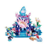 美人鱼城堡模型发光拼装玩具女孩 迪士尼3d立体拼图儿童