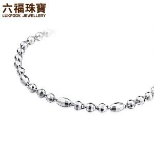 六福珠宝 Pt950简约圆珠车花铂金手链     HIPTBB0004